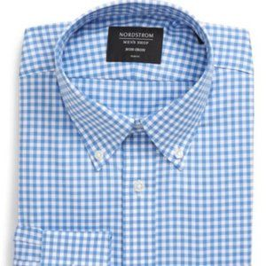 Nordstrom Mens Shop Gingham Button Down Size 16